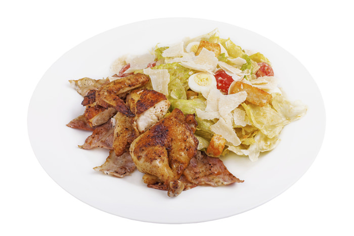 chicken salad on a white isolated background