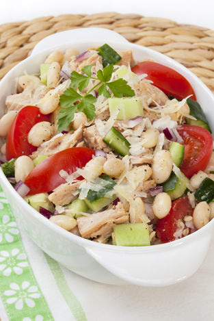 """""""Italian cannelini bean and tuna salad, with cucumber, tomato, red onion, parmesan cheese and a garlic vinaigrette dressing."""""""