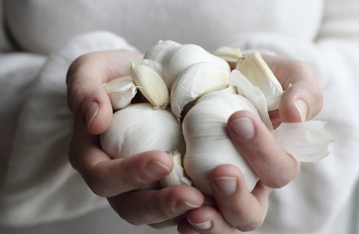 Woman holding garlic. Concept - Simple Life.Woman holding garlic. Concept - Simple Life.
