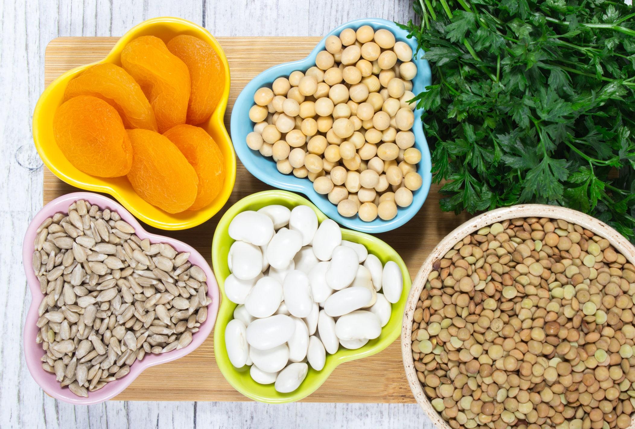 Getreide, Trockenobst, Bohnen