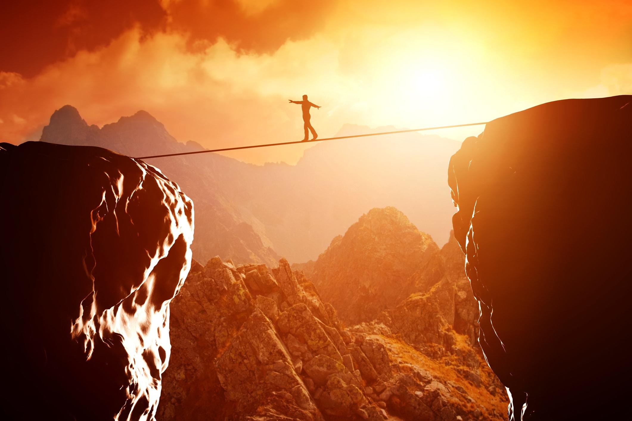 Mann auf dem Seil