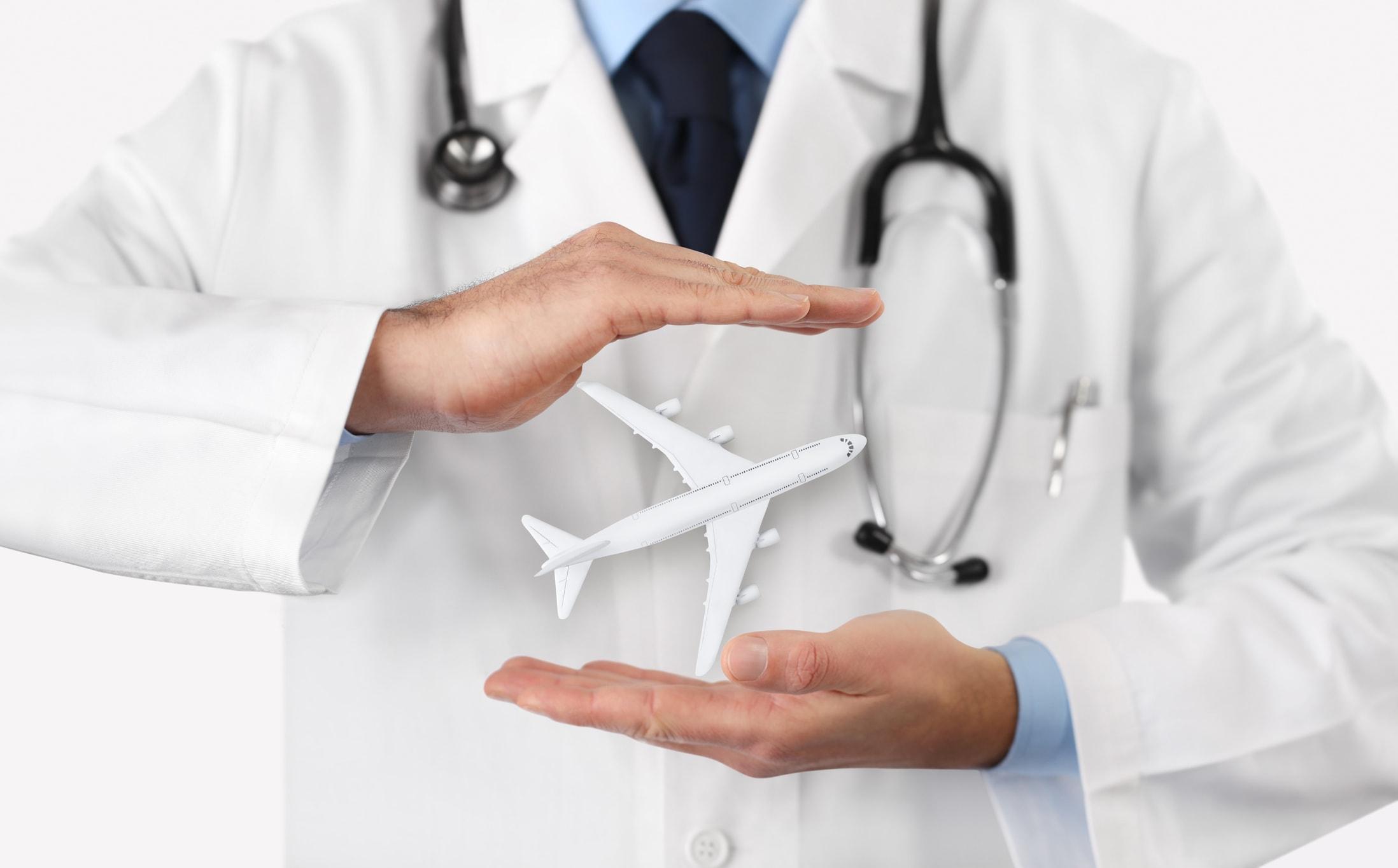 Arzt und Flugzeug