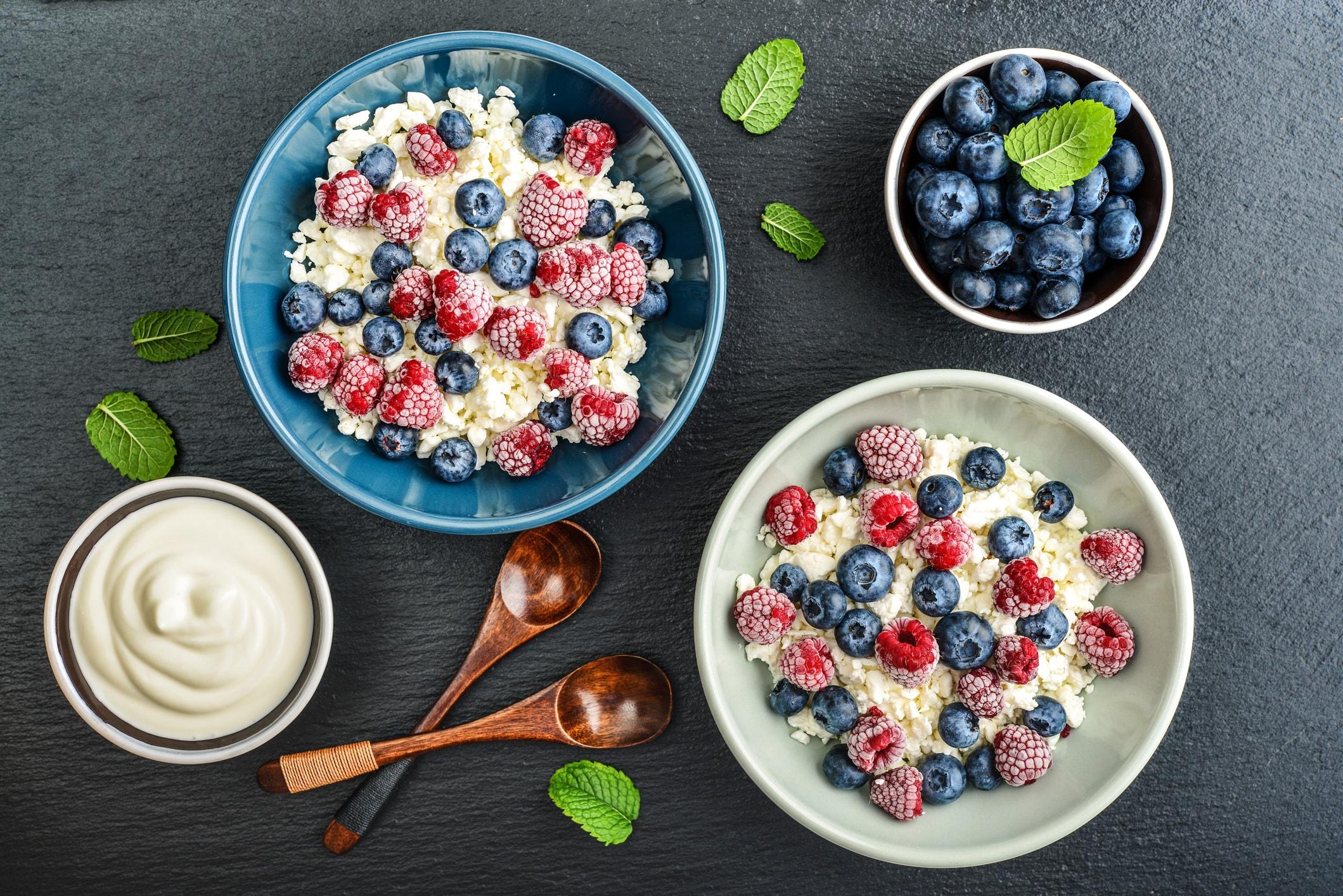 Quark und Obst